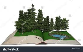 wonderful forest smal lake on pages stock illustration 667152925