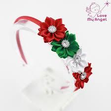 christmas headbands christmas headbands satin ribbon flower hairband christmas gift