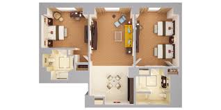 waldorf astoria orlando luxury resort near disney 3d floor plans 3d view of two bedroom chairman s suite 1 king 2 queens