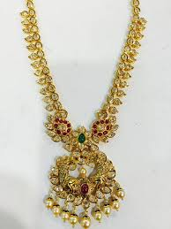 real gold necklace designs images 22k traditional gold long necklace design south india jewels jpg