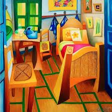 tableau contemporain intérieur sur toile la chambre à