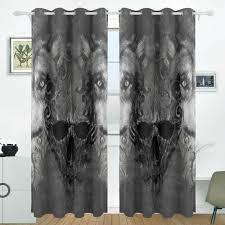 skull wolf curtains drapes panels darkening blackout grommet room
