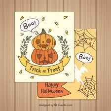 halloween cards with lovely style vector free download