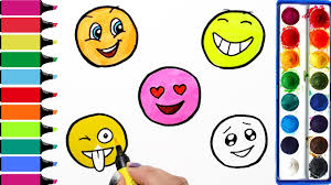 cute emoji smiley coloring page learn colors for girls and kids