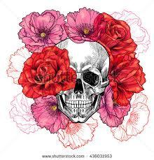 skull roses poppies vector seamless pattern stock vector 436031953