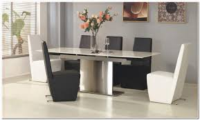 White Dining Table With Black Chairs Furniture Cool Luxury Glacier Contemporary Pull Out Leaves