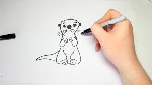 easy how to draw a otter from finding dory for kids youtube