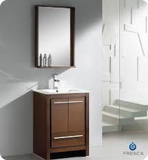 Wenge Bathroom Mirror Fresca Allier 24 Wenge Brown Modern Bathroom Vanity With Mirror