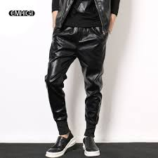 leather motorcycle pants elastic waist punk men leather motorcycle pants male fashion casual