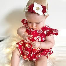 baby girl hair christmas deer romper for baby modern kid