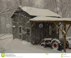 Tractor Barn Old Friends Barn And Tractor In Snow Stock Photo Image 40888853