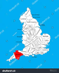 Devon England Map by Vector Map Devon South West England Stock Vector 325220729