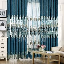 luxury curtains royal blue floral embroidery room darkening