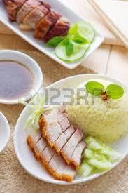cuisines chinoises siu yuk ou de porc style chinois rôti servi avec du riz cuit à la