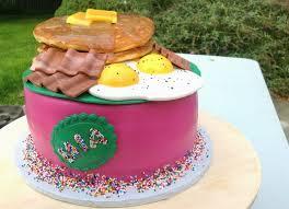 the mighty baker breakfast themed birthday cake