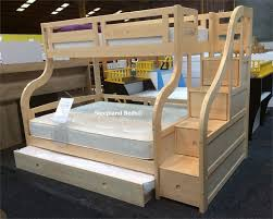 Luxury Carved Solid Pine Wood Double Bunk Beds With Staircase And - Double bunk beds