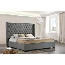 King Upholstered Platform Bed Wingback Platform Bed King Home Beds Decoration