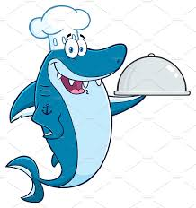 chef blue shark cartoon character illustrations creative market