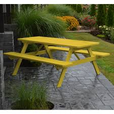 a u0026 l furniture yellow pine picnic table with attached benches