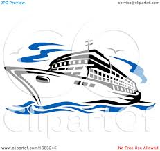 clipart seagulls and a cruise ship royalty free vector