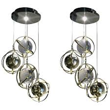 Armillary Sphere Chandelier Pair Of Brass Stainless Steel And Lucite Armillary Sphere