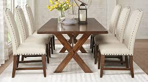 5 pc round pedestal dining table twin lakes brown 5 pc 72 in rectangle dining room stylish