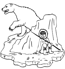 polar bear color page bear coloring page with eskimo hunter