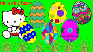 hello kitty painting easter eggs coloring page fun coloring