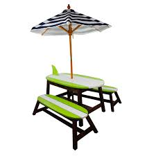 Outdoor Childrens Table And Chairs Winland Surfboard Outdoor Wood Kids Table U0026 Bench Set Hayneedle