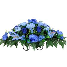cemetery flowers blue buds stargazer lilies and hydrangea silk cemetery flowers