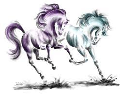 drawings horses wild horses print color tinted drawing