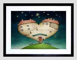 painting love heart shape house moon stars surreal fantasy framed
