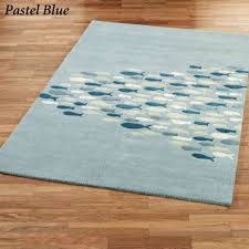 Rugs With Teal Schooled Fish Wool Area Rugs