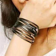 hand wrist bracelet images Fd4893 new korea women girl pu leather buckle punk wrist band jpg