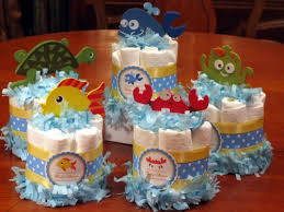 Diaper Cake Centerpieces by Ocean Fish Sea Baby Shower Mini Diaper Cake Centerpiece Favors