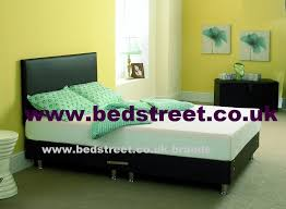 bed street luxury leather double divan bed base black or
