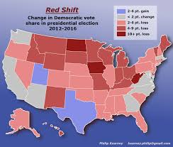 2012 Presidential Election Map by Red Shift Change In Democratic Vote Share 2012 2016 Oc