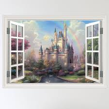 30 castle wall decals window fantasy castle view wall stickers tale castle child 039 s window wall sticker decal mural transfer ebay
