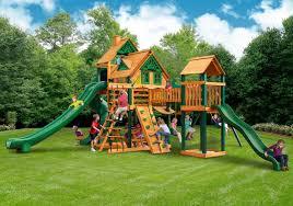 Backyard Fence Exterior Gorilla Treasure Trove Ii Treehouse Playset Ts Life