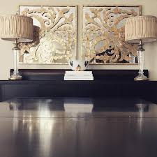 Glass Buffet Furniture by Gold And Blue Abstract Art Over Wood And Sideboard Cabinet