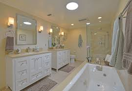 All White Bathroom This Appealing All White Master Bath Includes A Pair Of Strasser