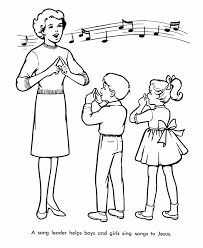 church coloring pages children sing easter songs cherub choir