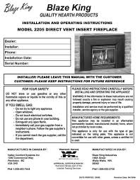 Fireplace Installation Instructions by Blaze King Gas Stove Manuals