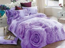 Purple And White Duvet Covers 3d Purple Rose Printed Cotton 4 Piece Bedding Sets Duvet Covers