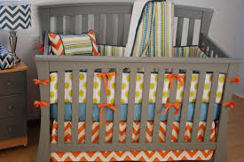 Bright Crib Bedding Bright Gender Neutral Crib Bedding With Orange Chevron Aqua And