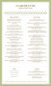 dining menu template menu template