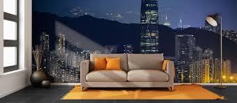 Skyline Wallpaper Bedroom Hong Kong City Skyline Wallpaper Hong Kong Wall Murals Pictowall