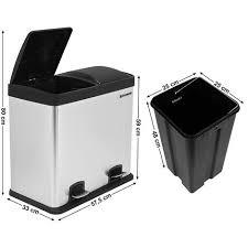 poubelle de cuisine à pédale songmics 48 l poubelle de cuisine résistante avec pédales et 2