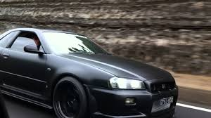 nissan r34 black top secret gtr matte black driving youtube