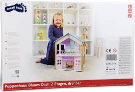 design doll 4 0 0 9 doll s house blue roof 2 levels rotatable